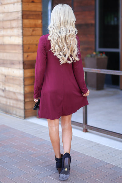 One In A Million Dress - Wine color women's trendy long sleeve dress, criss cross detail, flowy, soft, pockets, closet candy boutique 5
