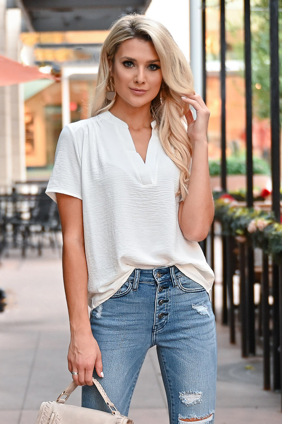 Dinner and a Movie Top - Ivory womens trendy short sleeve crinkle chiffon v-neck top closet candy front