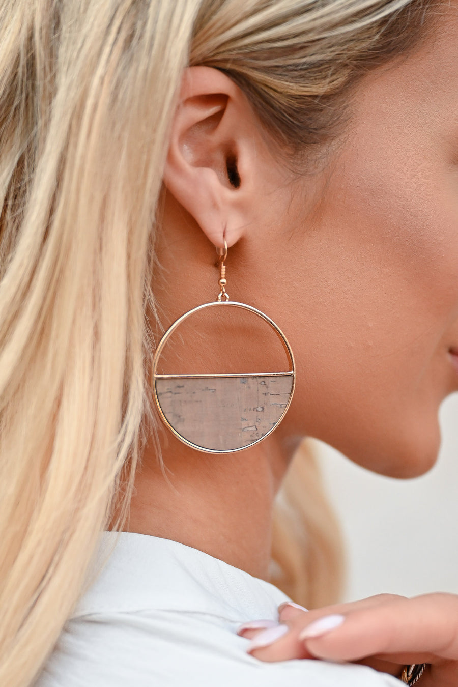 Here For It Earrings - Natural womens trendy semicircle cork detail dangle earrings closet candy side