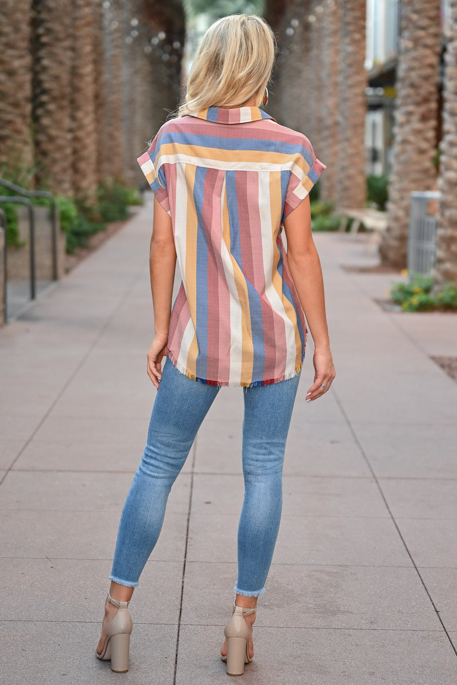 Full of Heart Button Down Top - Multi womens trendy striped collared short sleeve top closet candy front