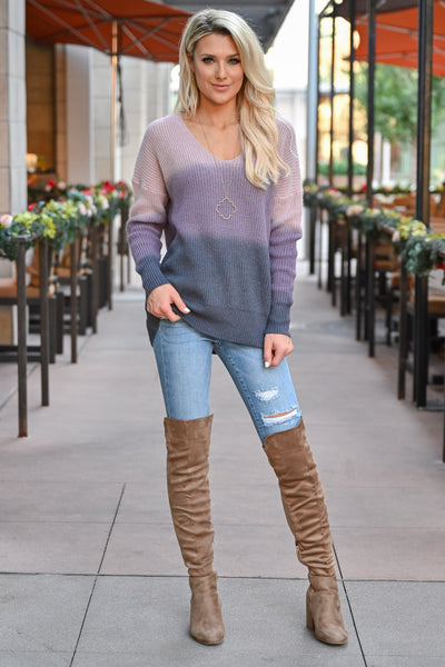 Here With You Ombre Sweater - Lavender womens trendy ombre long sleeve cozy sweater closet candy front