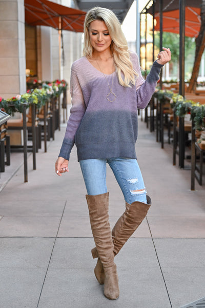 Here With You Ombre Sweater - Lavender womens trendy ombre long sleeve cozy sweater closet candy front 3