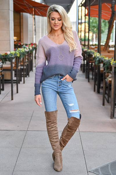 Here With You Ombre Sweater - Lavender womens trendy ombre long sleeve cozy sweater closet candy front 2
