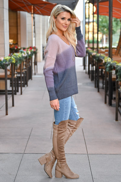 Here With You Ombre Sweater - Lavender womens trendy ombre long sleeve cozy sweater closet candy side