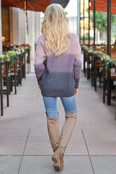 Here With You Ombre Sweater - Lavender womens trendy ombre long sleeve cozy sweater closet candy back