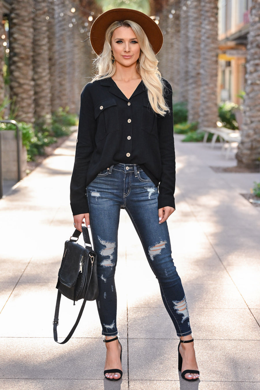 Welcome To The OC Top - Black womens trendy button up front collared top closet candy front