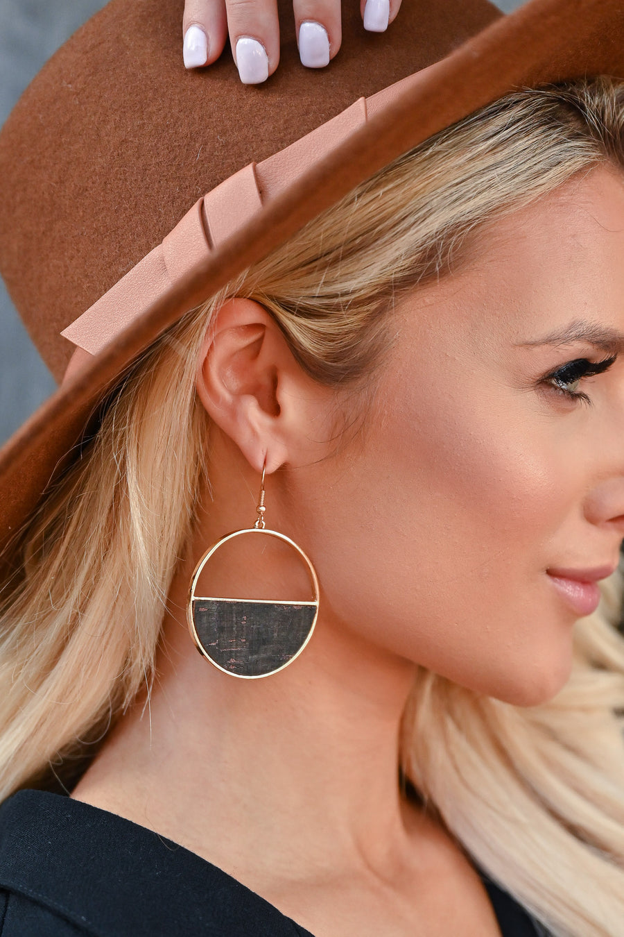Here For It Earrings - Black womens trendy semicircle cork dangle earrings closet candy side