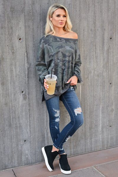 Fall Road Trip Waffle Knit Top - Camo womens casual oversized drop shoulder long sleeve top closet candy front