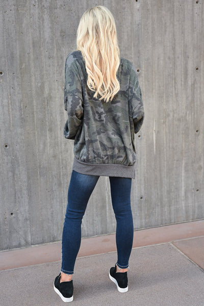 Fall Road Trip Waffle Knit Top - Camo womens casual oversized drop shoulder long sleeve top closet candy back