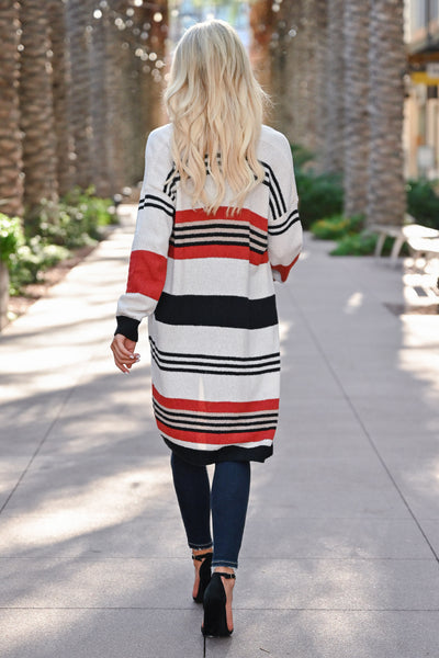 CBRAND Do It For You Cardigan - Multi womens trendy color block long sleeve striped cardigan closet candy back