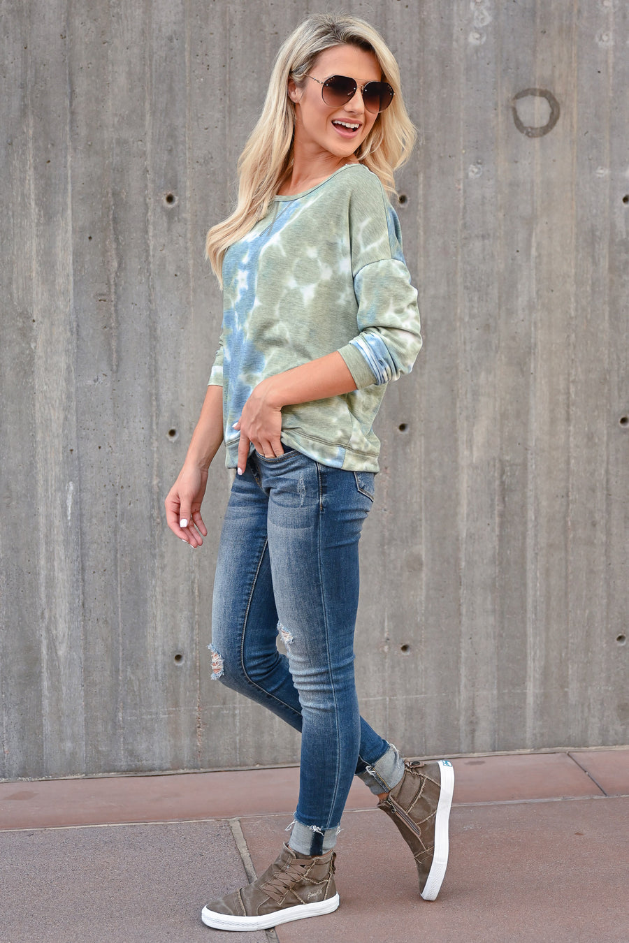 What You Want Tie Dye Top - Blue & Green womens casual long sleeve tie dye top closet candy front