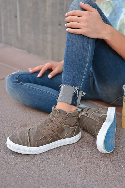 Krista High Top Sneakers - Whiskey womens casual tennis shoes with zipper detail closet candy sitting 2