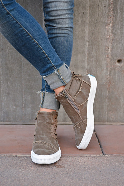 Krista High Top Sneakers - Whiskey womens casual tennis shoes with zipper detail closet candy front 2