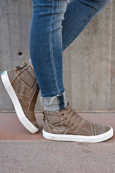 Krista High Top Sneakers - Whiskey womens casual tennis shoes with zipper detail closet candy side