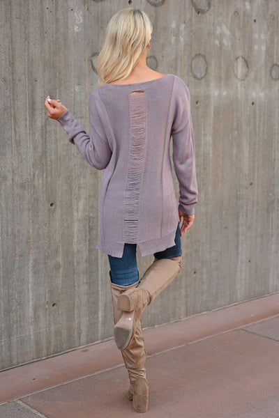 What You've Got Sweater - Lavender womens trendy long sleeve v-neck front pocket sweater closet candy back 2