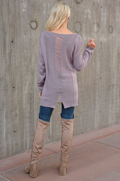 What You've Got Sweater - Lavender womens trendy long sleeve v-neck front pocket sweater closet candy back