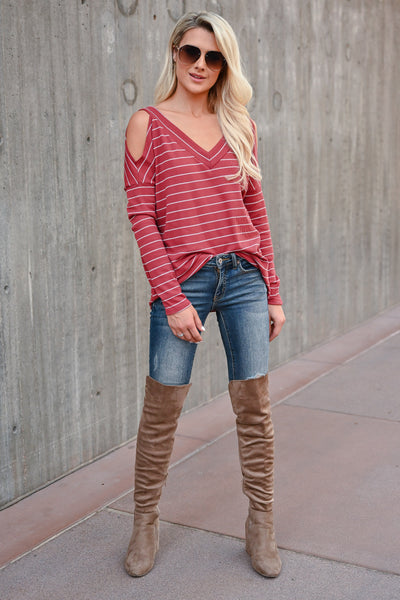 Stand By Me Striped Top - Rust womens trendy striped cold shoulder top closet candy front