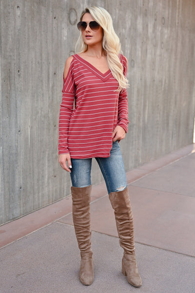 Stand By Me Striped Top - Rust womens trendy striped cold shoulder top closet candy front 3