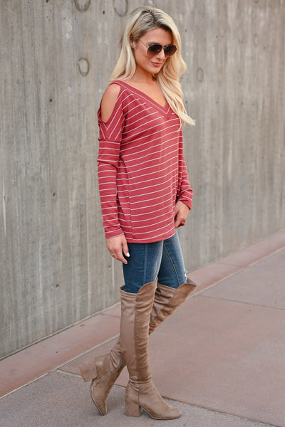Stand By Me Striped Top - Rust womens trendy striped cold shoulder top closet candy side