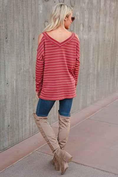 Stand By Me Striped Top - Rust womens trendy striped cold shoulder top closet candy back