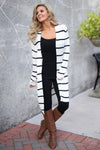 Dressed To Chill Cardigan - black and white stripe cardigan, trendy fall outfit, Closet Candy Boutique 1