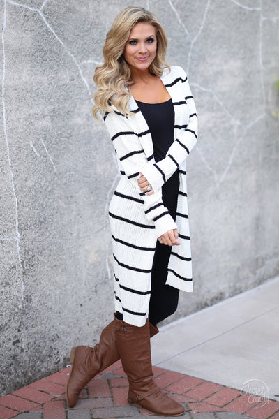 Dressed To Chill Cardigan - black and white stripe cardigan, trendy fall outfit, side, Closet Candy Boutique 2