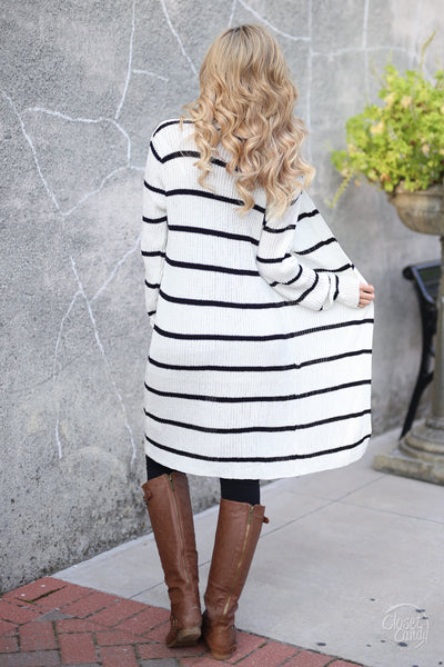 Dressed To Chill Cardigan - black and white stripe cardigan, trendy fall outfit, back, Closet Candy Boutique 3