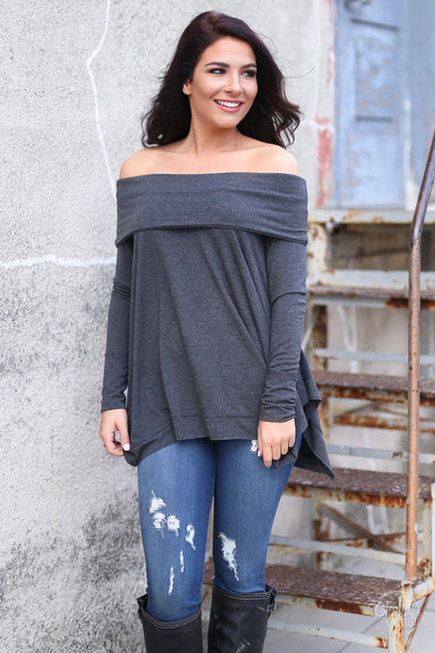 Take My Breath Away Top - off the shoulder sweater top, front, Closet Candy Boutique
