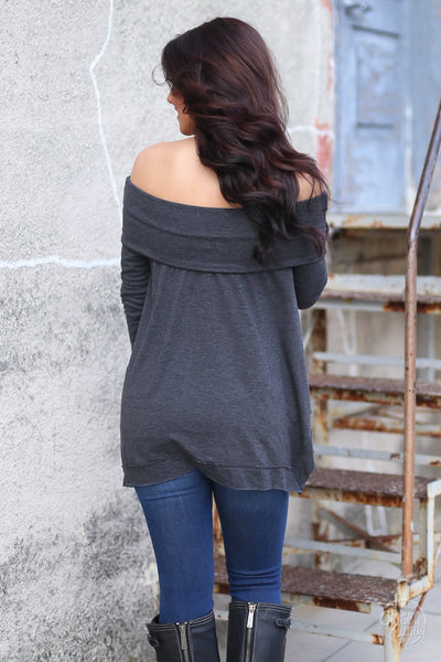 Take My Breath Away Top - off the shoulder sweater top, back, Closet Candy Boutique