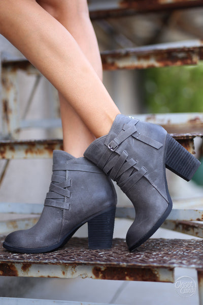 Happy Go Lucky Booties - cute charcoal buckle booties, fall shoes, Closet Candy Boutique