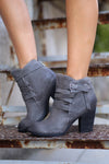 Happy Go Lucky Booties - cute charcoal buckle booties, fall shoes, side, Closet Candy Boutique