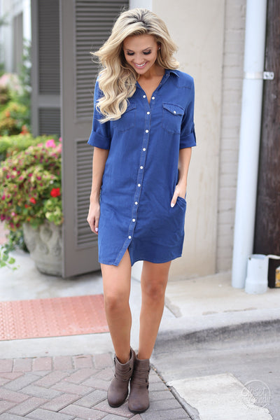 Kut From the Kloth Chambray Dress - chambray button up dress, fall outfit, front, Closet Candy Boutique