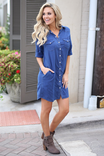 Kut From the Kloth Chambray Dress - chambray button up dress, fall outfit, Closet Candy Boutique