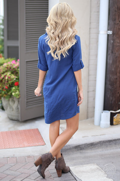 Kut From the Kloth Chambray Dress - chambray button up dress, fall outfit, back, Closet Candy Boutique