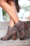 Happy Go Lucky Booties - cute taupe buckle ankle booties, side, Closet Candy Boutique