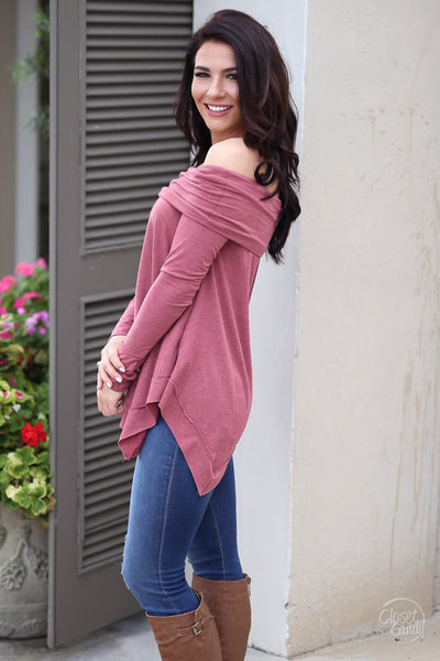Take My Breath Away Top - wine off the shoulder top, trendy fall look, side, Closet Candy Boutique