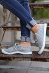 Kickin' It Sneakers - Grey quilted cloth sneakers, side, Closet Candy Boutique