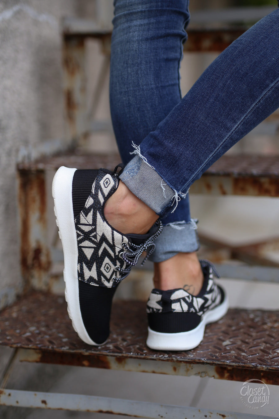 Live In the Moment Sneakers - aztec tribal print sneakers, side, Closet Candy Boutique