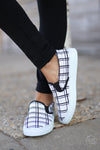 Checkmate Sneakers - black and white checkered plaid sneakers, front, Closet Candy Boutique