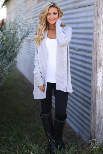 Never Felt Better Cardigan - cute grey cardigan, fall outfit, Closet Candy Boutique 3