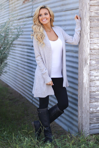 Never Felt Better Cardigan - cute grey cardigan, fall outfit, Closet Candy Boutique 1