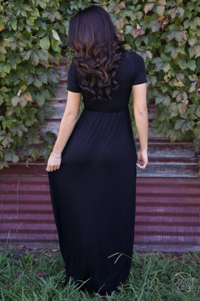 All I Think About Maxi Dress - black short sleeve maxi dress, back, Closet Candy Boutique
