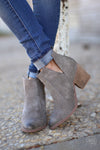 Go West Booties - grey v-cutout booties, front, Closet Candy Boutique
