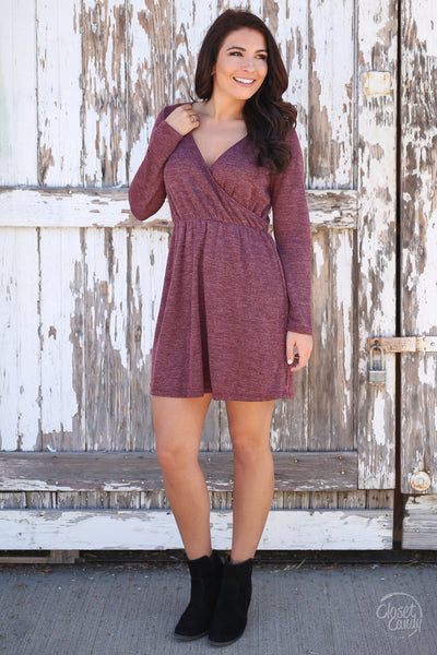 Everly Fall Festivities Dress - wine long sleeve v-neck dress, fall outfit, Closet Candy Boutique