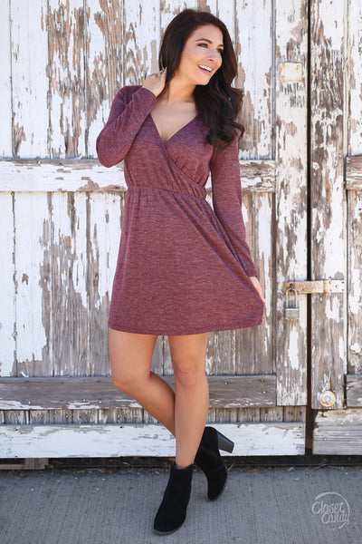 Everly Fall Festivities Dress - wine long sleeve v-neck dress, front, Closet Candy Boutique