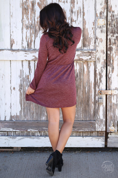 Everly Fall Festivities Dress - wine long sleeve v-neck dress, back, Closet Candy Boutique