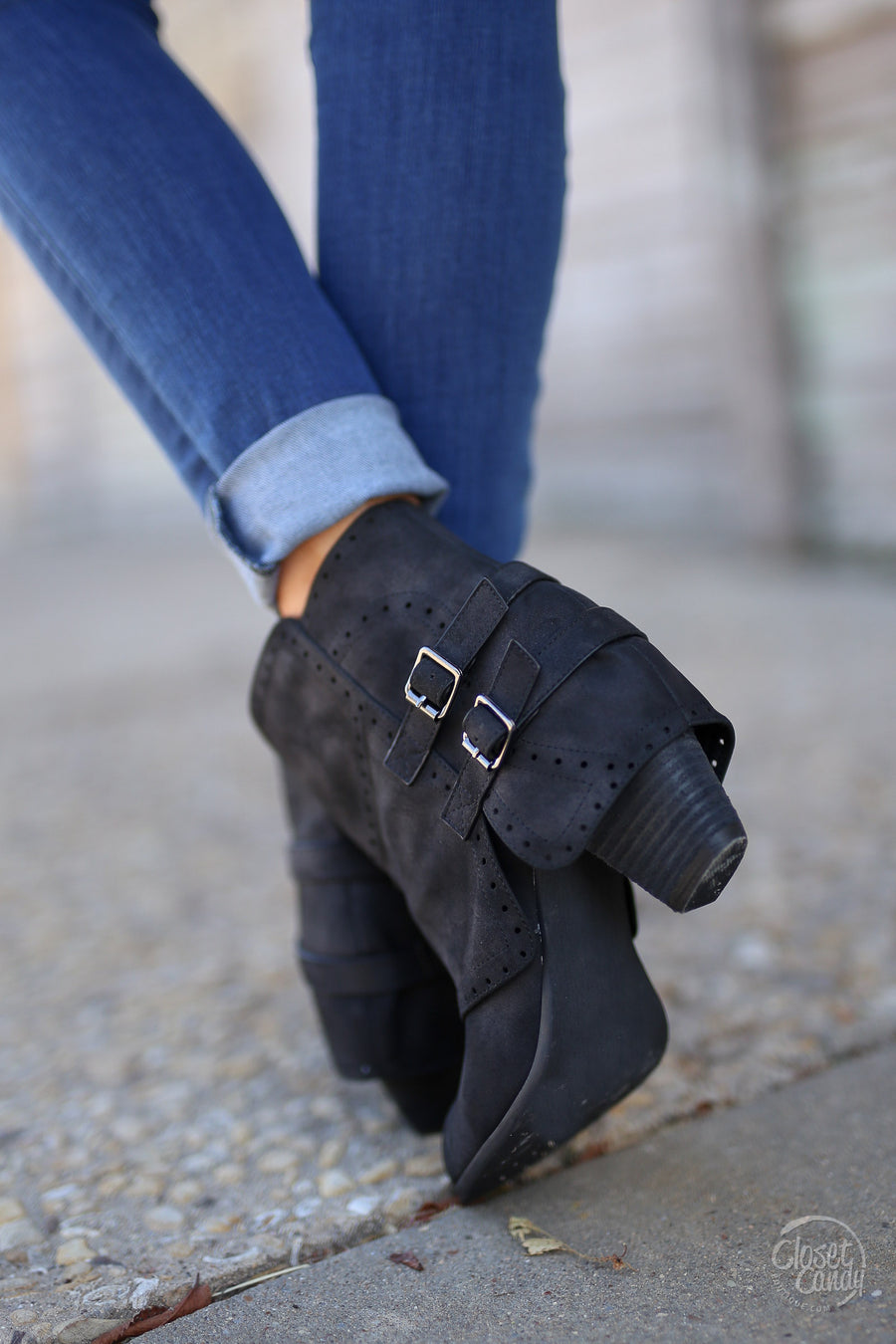 Head Over Heels Booties - black ankle booties with buckle, side, Closet Candy Boutique