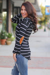 All Nighter Hoodie - black and white stripe hoodie, Closet Candy Boutique 1