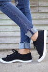 Kickin' It Sneakers - cute black quilted sneakers, side, Closet Candy Boutique