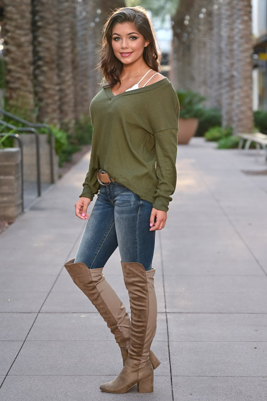 CBRAND It's Your Time Waffle Knit Top - Olive womens casual oversized long sleeve knit fall top closet candy front; Model: Hannah Sluss